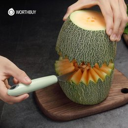 Discount kitchen fruit vegetable carving Carving Tools Vegetable Melon Cutter Handle Plastic Stainless Kitchen Fruit With Knife Steel Multifunctional yxlZWt xhha