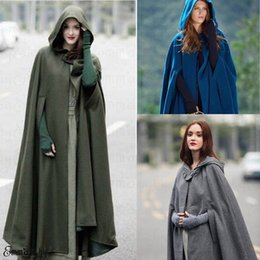 frauen lange wintermützen großhandel-Womens Long Trench Cape mit Kapuze Wollmischung Mantel Ärmel Winter Fashion Damen Cardigan xQ9H