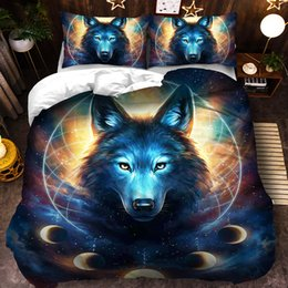 wolf duvet covers UK - Comforter Set King Size Duver Cover 3d Wolf printing Bedding set pillowcases single double queen king sizes 3pcs Duvet Cover