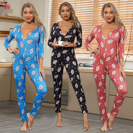 designer women jumpsuits rompers 2020 - New Print Jumpsuits For Women Sexy V-Neck Womens Onesies Home Clothing Lady Comfortable Tight Rompers Pajamas Women Clot