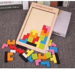 Bunte 3D-Puzzle aus Holz Tangram Math Spielzeug Tetris Game Vorschulkinder magination Intellectual pädagogisches Spielzeug für Kinder im Angebot