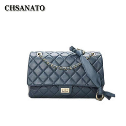 lambskin bags 2020 - CHSANATO Genuine Leather Lambskin Soft Shoulder Bag Diamond Lattice Classical Tote Large Purses And Handbags Women cheap
