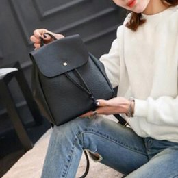 Fashion Women Backpack 2020 Vintage Pure Color Leather School Bag Backpack Satchel Women Shoulder Bag Bolsa xPPd#