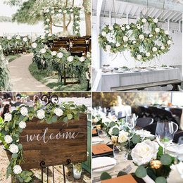 Discount flower backdrop for wedding Eucalyptus Garland (8 Pcs White Roses Among Eucalyptus Leaves), Flower Garland for Wedding Arch Backdrop Decor, Table Runner, Ba