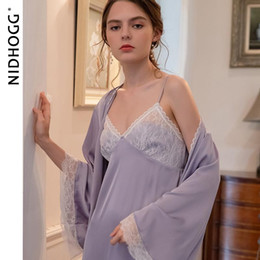 Wholesale piece sleep set for sale - Group buy Autumn Sexy Sling Skirt Lace Robe Sets Solid Long Sleeve Womens Piece Sleep Set Robe and Nightgown Satin Night Dress Sleepwear
