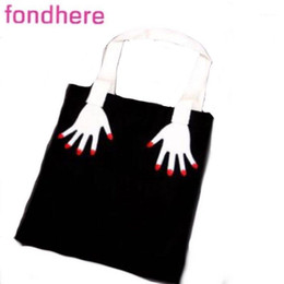 Discount funny hand art FONDHERE new double-sided embroidered two hand funny art shopping bag canvas bag one shoulder portable campus men's