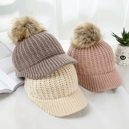 kids knit hats NZ - Fashion Knitted Baby Hat Pompom Winter Cap for Kids Adjustable Solid Baby Winter Hat Accessories Children Cap for 2-5 Years 1PC
