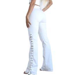 Wholesale white pants women resale online – High Waist Women Jeans Fashion White Color Slim Lace Up Straight Pants Casual Women Designers Clothes