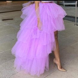 Wholesale tulle skirts resale online - Lavender High Low Tulle Skirts High Street Custom Made Long Tiered Tulle Skirt Women To Party Female Maxi Skirt1
