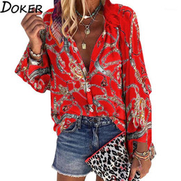 Wholesale orange womens blouse resale online - 2021 New Design Plus Size Women Blouse V neck Long Sleeve Chains Print Loose casual Shirts Womens Tops And Blouses1