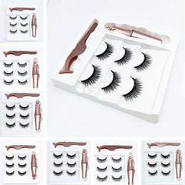 9 COLORES 3 pares de pestañas pestañas postizas magnéticos + Delineador Líquido + pinzas de ojos maquillaje conjunto del imán 3D pestañas falsas natural reutilizable F101907 en venta