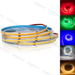warm 8mm led 2021 - LED Strip Light 8MM COB DC12V 384LEDs High Density Flexible 90Ra 6500K 3500K Blue Green Red Holiday Lighting For Bedroom TV Background Glass Side DHL