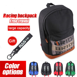 JDM Stil Gelin Kumaş Yarış Sırt Çantası Araba Tuval Sırt Çantası Motosiklet Sırt Çantası Seyahat Bagaj Anahtarlık Okul Çantası RS-Bag040 ile