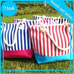 american kits NZ - 50pcs New Colorful Stripes Beach Women Canvas Large Capacity Totes Shopping Bags outdoor summer
