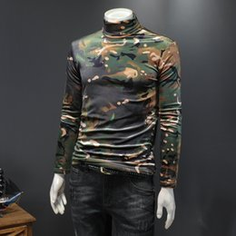 Discount camouflage collared shirts 2020 mid-high collar thick camouflage velvet long-sleeved T-shirt Korean version of the trend of men's inner base s