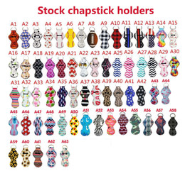 bulk keychains Australia - Chapstick Holder Keychains 63pcs Bulk Lipstick Holder Neoprene Keychains Chapstick Keyring Holder The Best Gift for Birthday Christmas