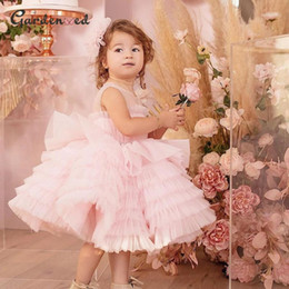 puffy baby girl dresses UK - Layer Pink Girl Birthday Dress Puffy Ball Gown Girl Party Dress Sleeveless Tulle Princess Mother & Baby robe de bal1