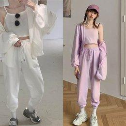 Wholesale korean women sports suit resale online – QuTxw Leisure sports suit casual new Korean Hoodie suspender three legged pantsSling casual pants women pants Vest piece set gOAZX