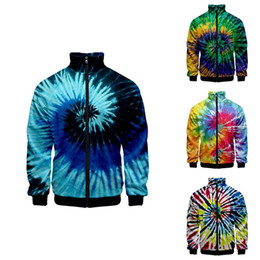 Wholesale colorful hoodies jackets for sale - Group buy Fashion Tie Dye Colorful Costume d Stand Collar Hoodie Men Women Zipper Hoodies Jacket Long Sleeve Homme D Sweatshirts Top XL