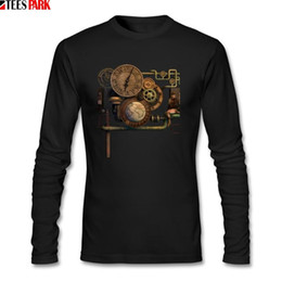 Discount vintage metal t shirts Vintage Steampunk Metal T-shirts Man Life 100% Cotton Shirt Men Clothes Tops Printed Long Sleeve T Shirts For Male