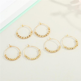 Discount beads for hoop earrings 1Pair New Vintage Bamboo Multiple Bead Hoop Earrings For Women European Fashion Shiny Round Circle Earrings Female Jewelry E332