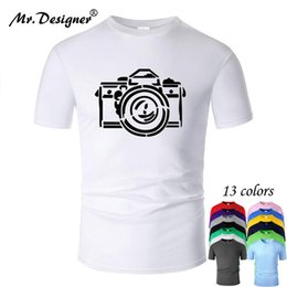 Camera Line Art Cotton T Shirt Men Unisex Simple Style Summer Short Sleeve Cool Printed Casual Women Top Tees New Fashion M01001 bbypIR on Sale