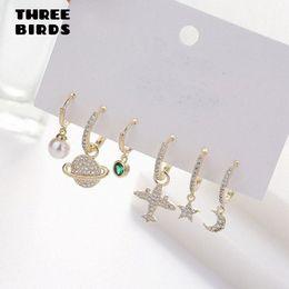 Fashion Plane Moon Star Pearl Cute Earrings Sets Personality Luxury Hoop Earings Set For Women Fashion Jewelry 2020 aretes s3Ji#
