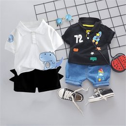 Wholesale chinese clothes for kids resale online - Infant Suit Baby Clothing Set for Boys Suit Summer Casual Clothes Set Print Top Shorts Jeans Outfit Kids Clothes C1021