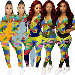 Wholesale paisley print leggings for sale – dress Map Print Hooded Casual Suit Womens Tracksuit Hoodie Zip Jacket Zipper Coat and Pants Leggings Two Piece Outfits Clothing Set D102101