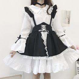 Wholesale cute lolita dresses online – ideas New Black and white gothic style maid costume Lolita dress cute Japanese costume Westidos de fiesta de noc party dress vestidos
