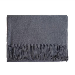 100% Cashmere Women And Men Scarf Winter Warm Fashion Scarves Mens Neck Warm Black Navy Grey Scarf For Woman New Plain Color l Female Shawl on Sale