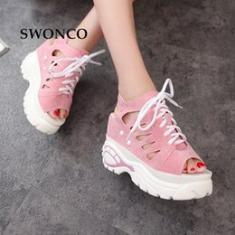 tie front cover up NZ - SWONCO Women's Sandals Summer Thick Sole Sneakers Female Shoes Leather Platform Sandals Women High Heels Woman Shoes 0928