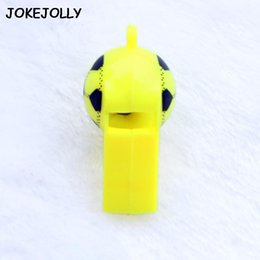 kids whistles Australia - 10pcs Lot Soccer Football Or Smiling Face Whistle Cheerleading Toys For Kids Children Plastic Whistles Toys With Ropes Gyh sqcfrf toys2010