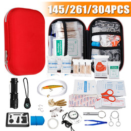 Wholesale 145 261 304 Pcs First Aid Bag Kit Camping Hiking Car Portable Outdoor Medical Emergency Kit Treatment Pack Survival Rescue Box Y200920