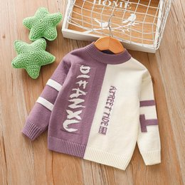 Discount toddler girl fall fashion Toddler Girl Fall Clothes Sweater 2020 Boys Knitted Sweater Fashion Children's Clothing Letter Baby O Neck Children