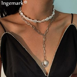 baroque pearl long necklace 2021 - Goth White Baroque Pearl Choker Necklace Collar Statement Multilayer Irregular Coin Pendant Long Chain Necklace Women Jewelry