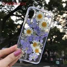 floral iphone 11 case Canada - Clear Phone Case For iPhone X Real Dried Flower Cases Lovley Floral Back Cover For iPhone 8 6S 6 7 Plus XR XS 11 12 pro MAX