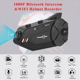 Freedconn R1 Plus Motorcycle Group Intercom Waterproof HD Lens 1080P Video 6 Riders Bluetooth Wifi Helmet Interphone Recorder1 on Sale