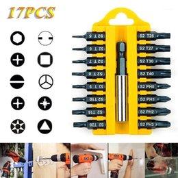 17PCS Electric Screwdriver Bit Set Magnetic Holder S2 Alloy Steel Hex Shank Magnetic Holder1 on Sale