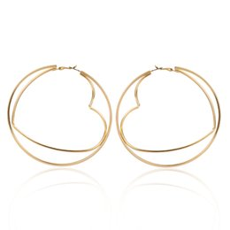 Discount hollow hoops earrings 10pairs Lot European Geometric Large Round Earring Hoop Hollow Double Layer Iron Stud Earring Women Gold Heart Ear Jewelry Accessories