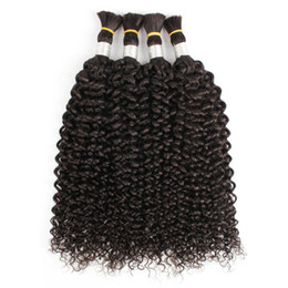 4pcs hair bulks natural color straight jerry curly Indian human hair no weft curly hair bulk for braiding on Sale