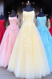 sexy part dresses NZ - ss Spaghetti Straps A Line Appliques Tulle Lace up Pink Prom Dresses 2020 New Part Gowns