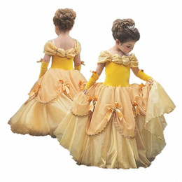 Cosplay Belle Dresses Sleeping Beauty Costume Halloween Girls Party Dress For Girl Princess Elza Vestidos Fantasia 4 10 Yrs SYBb#