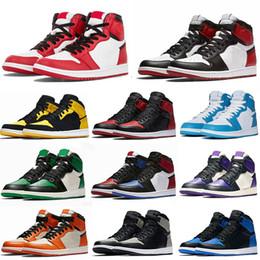 Jumpman Nike air Jordan 1 Basketball Shoes royal toe black metallic gold pine green black UNC Patent men women Sneakers trainers