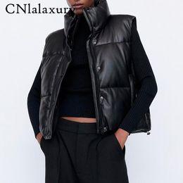 Black Stand Collar Vests Women Fashion Zipper PU Leather Coats Female Elegant Autumn Winter Short Outerwear Female Ladies Parkas on Sale
