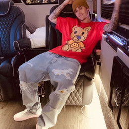 Wholesale distressed jeans men resale online – designer Justin Bieber Drew House Mens Jeans Hip Hop Pants Stylist Jeans Distressed Ripped Biker Jean Slim Fit Motorcycle Denim Jeans Size