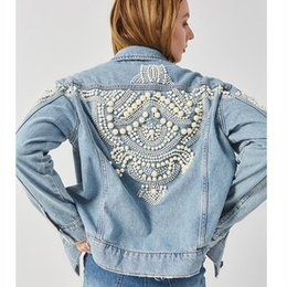 Wholesale winte jacket for sale - Group buy Pearl Embroidery Denim Jacket Women Cotton Winte Boho Women Coat Bomber Jacket Bead Embellished Vintage Blue Coat Outfit