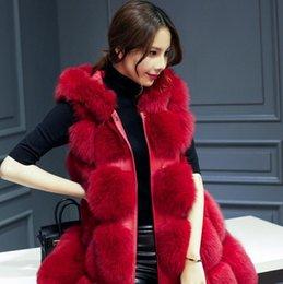 Wholesale black hooded fur vest resale online - COATS Plus Size XL Women Fashion Hooded Faux Fur Coat Autumn Winter Sleeveless Vest Fur Coat Large Size Long Overwear LQ310