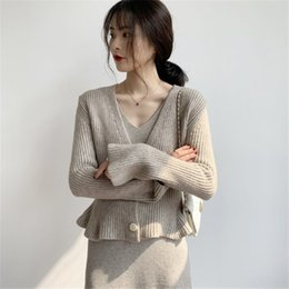 Wholesale black cardigan sweaters for women for sale - Group buy t8MOR French style short for sweater coat slim Top SweaterCoat sweaterwomen flounced autumn and winter knitted cardigan Western style to
