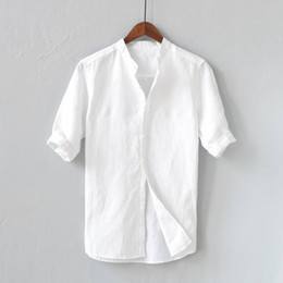 Wholesale linen shirt mens resale online - Mens Shirts Summer Breathable casual Solid Color Button Cotton Linen loose Soft Five point sleeve Sleeve Tops Shirt camisa